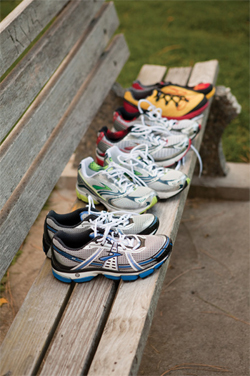 Benched: Display of running shoes ready for a marathon